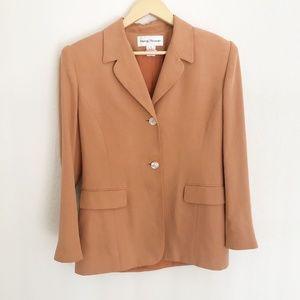 Rena Rowan 100% Silk Two Button Orange Blazer